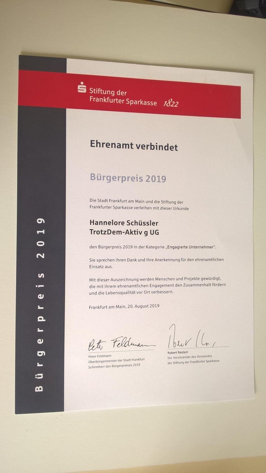 Auszeichnung Urkunde